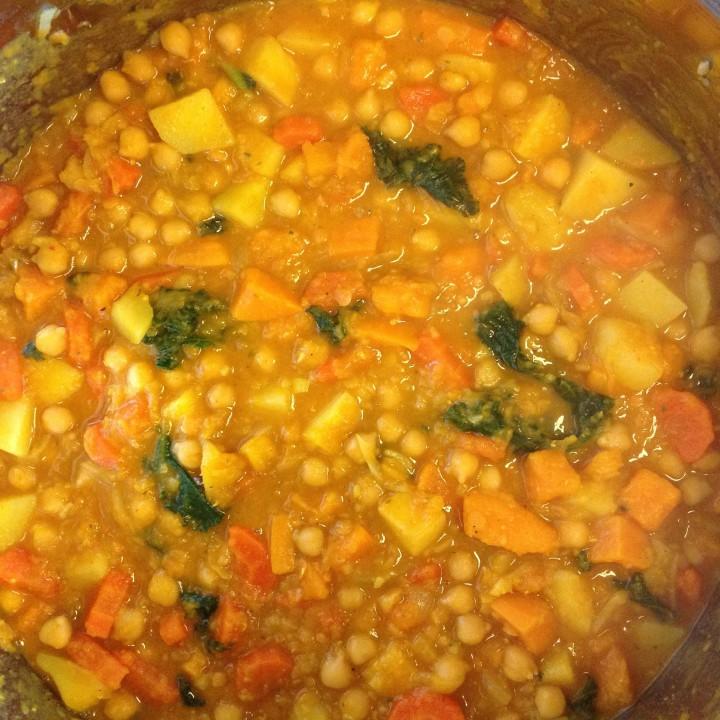curry zjarmużem, batatami idynią